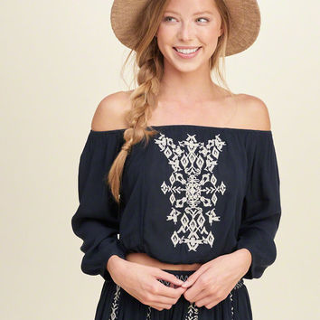 Off The Shoulder Smocked-Waist Top