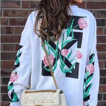 """OFF WHITE"" Women Casual Fashion Stripe Flower Pattern Print Long Sleeve Round Neck Sweater Tops"