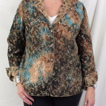 Tapestry Jacket L size Reversible Brown Blue Floral Lightweight All Season