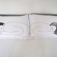 Girl and Boy Pillow Cases DOUBLE SET by jennidesmond on Etsy