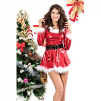 Sexy Adult Santa Claus Christmas Hooded Women Costume Dress Cosplay - Default
