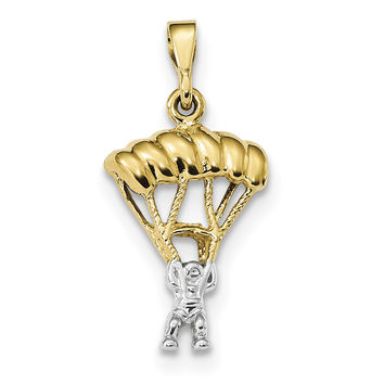 14k Two-Tone Polished Parachute Pendant K6140