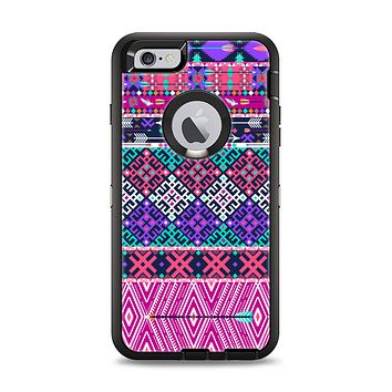 The Pink & Teal Modern Colored Aztec Pattern Apple iPhone 6 Plus Otterbox Defender Case Skin Set