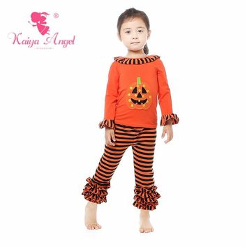 Kaiya Angel Halloween Toddler Girl Orange Pumpkin Ruffles Boutique Clothes Orange Black Stripe Cotton Children Autumn Outfits