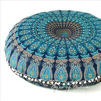 "EYES OF INDIA - 32"" BLUE MANDALA FLOOR PILLOW CUSHION COVER HIPPIE Decorative Bohemian Decor"