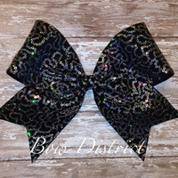 "3"" Silver Sequin and Black Cheer Bow"