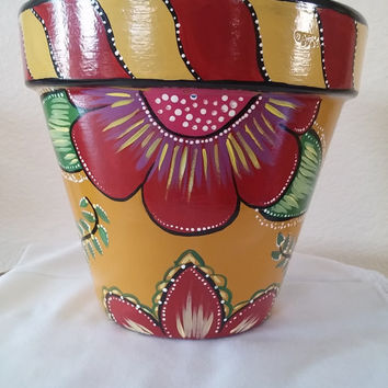 painted flower pot, clay pot, floral design pot, planter, home decor, garden decor, hand painted pottery, whimsical decor, floral planter