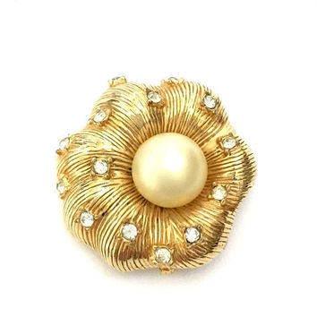 Hattie Carnegie Floral Brooch, Textured Gold Tone, Faux Pearl, Ice Crystal Accents , Puffy Flower, Vintage Statement Brooch, Designer Signed