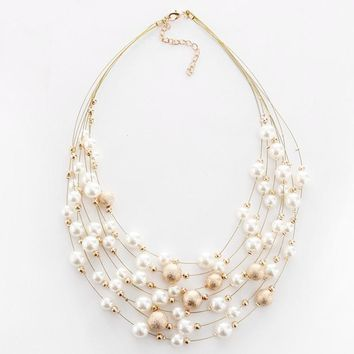 KMVEXO New Fashion Jewelry Gold Color Multi Layer Chains Imitation Pearl Necklaces For Women Party Wedding Bride Necklace