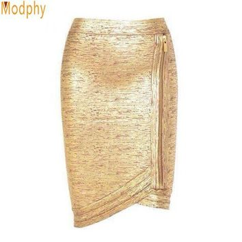 ONETOW Women gold foil bandage skirts zipper asymmetric rayon spandex mini sexy bodycon pencil skirt HL for nightclub fashion HL410