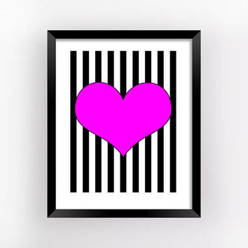Optical Art, Hearts Poster, Romantic Gift, Geometric Prints, Bedroom Wall Decor, Love Printable, Heart Print, Home Decor | MAGFEM ART #9