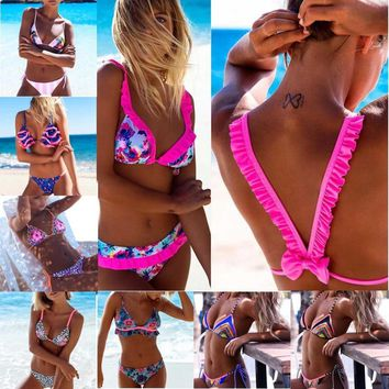 Sexy Swimwear Women Ruffle Bikini Set Triangle Bathing Suit Floral Print Swimming Suit Ruched Swim Suit Maillot De Bain Swimsuit