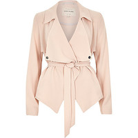 River Island Womens Pink cropped drape trench jacket