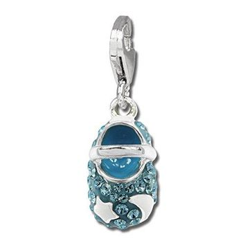 SilberDream Glitter Charm baby shoe with light blue Czech crystals white enameled sun and moon 925 Sterling Silver Charms Pendant for Charms Bracelet Necklace or Earring GSC554H