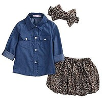 Cute Baby Girls Clothes Toddler Kids Denim Tops+Leopard Culotte Skirt Children Girl Clothing
