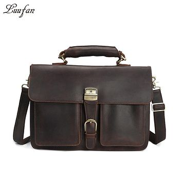 Vintage Men's Genuine Leather briefcase Cowhide Business bag Cow leather Laptop Double Layer messenger bag PC work tote