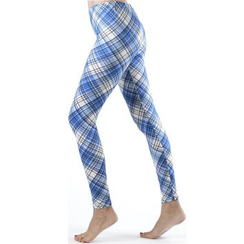 Blue Patch Plaid Ankle Leggings