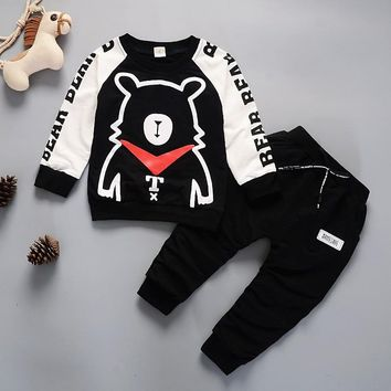 Kids Winter Clothes Super Bear Printed T-shirt Set Comfortable Warm Children Clothing Girl Winter Clothes For Kids 1-4 years old