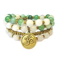 Strength and Calm, White agate and Green Agate 54 bead convertible wrap mala bracelet or necklace