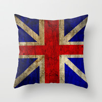 British Flag Throw Pillow by Jason Michael