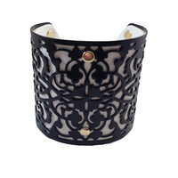 Black & White Metal & Leather Cuff Bracelet