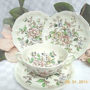 Royal Doulton China Monmouth Pattern #D6195 cream soup cup and 3 cream soup sauc