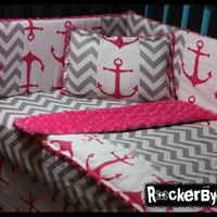 CUSTOM punk baby 4 piece MIXED PRINTS Candy Pink Chevron crib bedding set fabric skull and crossbones anchor girl boy unisex