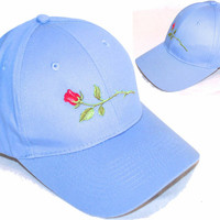 Long Stem Red Rose Baseball Hat Twill Cap Monogram Custom Embroidered