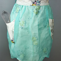 Vintage Mint Aqua Green Floral Apron With Pockets, Sheer Apron with Pockets, Kitchen Apron, Girly Apron, Reversible Apron, Gift For Her