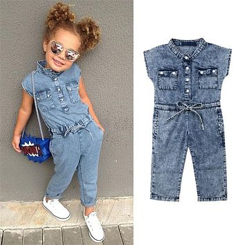32944f7a4f4 Summer Toddler Baby Kids Girls clothes V-neck sleeveless Button