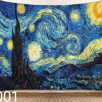Star Moon Night Wall Van Gogh Painting Series Living Room Tapestry