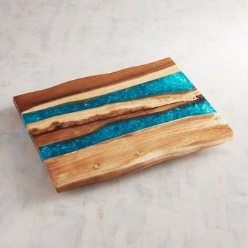 Wooden Turquoise Resin Cheeseboard