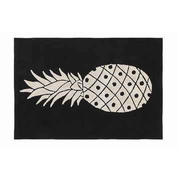 Pineapple Black & White Cotton Rug