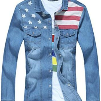 jeansian Men's Fashion USA Flag Long Sleeves Denim Shirts Tops MAD006