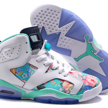 Girls Air Jordan 6 (VI) Retro GS White Black Turquoise Flower Blossoms