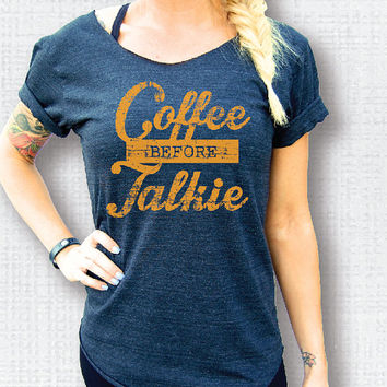 Coffee Before Talkie Eco-Charcoal/Gold Off-Shoulder Raw Neckline & Hem Swanky Tee - ONE SIZE