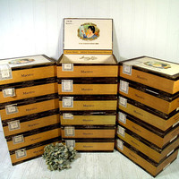 Cigar Boxes Set of 18 Free Shipping Garcia y Vega Ornate Cigar Boxes with Gold Embossed Graphics Lidded Boxes for Display Projects & Storage