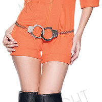 Orange Escaped Prisoner Inmate Prisoner Jumpsuit Sexy Prison Jailbird Convict Halloween Costume Women Sexy Adult