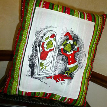 How The GRINCH STole CHRiSTMAS PiLLOW BoUTIQUE HANDMADE READY 2 SHiP! Beautifully Crafted  Contasting FABRiC  Back Side Designs by Sugarbear