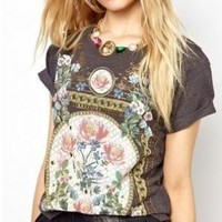 Vintage Flora Print T-shirt for Women S