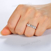 5 Stone Style 4MM Round Topaz Solid 10k White Gold Wedding Band Engagement Ring Generous Party Jewelry