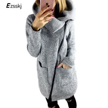 Trendy Plus Size 5XL Winter Autumn Women Knit Basic Coat Asymmetric Thick Female Solid Color Side Zipper irregular Jacket With Pocket AT_94_13