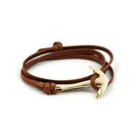 MIANSAI by Michael Saiger :: Anchors :: Gold :: Gold Anchor on Brown Leather