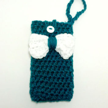 Teal Phone Case , iphone case , cell phone cover , iphone cover , Phone Carrier , Crochet Phone Case , Phone Accessories , Bow Phone Case