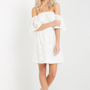 Malgo White Off the Shoulder Dress