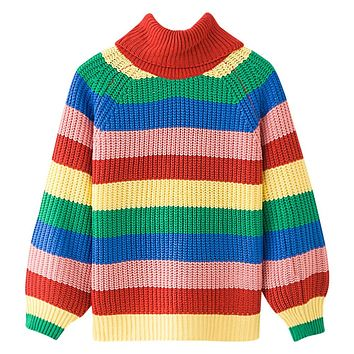 Rainbow Colorful Stripe Print Women Casual Sweaters Autumn Fashion Turtleneck Knitwear Loose Pullovers Jumper Pull Femme