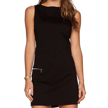 GETTINGBACKTOSQUAREONE Sleeveless Mini Dress in Black