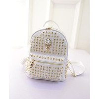 2015 new  fashion euramerican preppy style rivet human skeleton backpack schoolbag [8081694279]