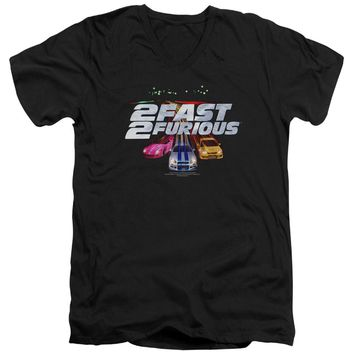 2 Fast 2 Furious - Logo Short Sleeve Adult V Neck