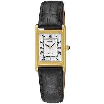Seiko Ladies Solar Classic Watch - Gold-Tone - White Dial - Black Leather Strap